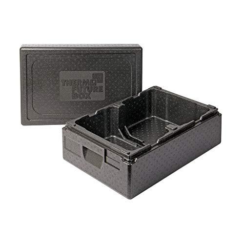 Thermo Future Box Ice Cream +2 Transportbox Warmhaltebox und Isolierbox mit Deckel, Thermobox aus EPP (expandiertes Polypropylen), schwarz, 2 x 10 Liter Kühlbox