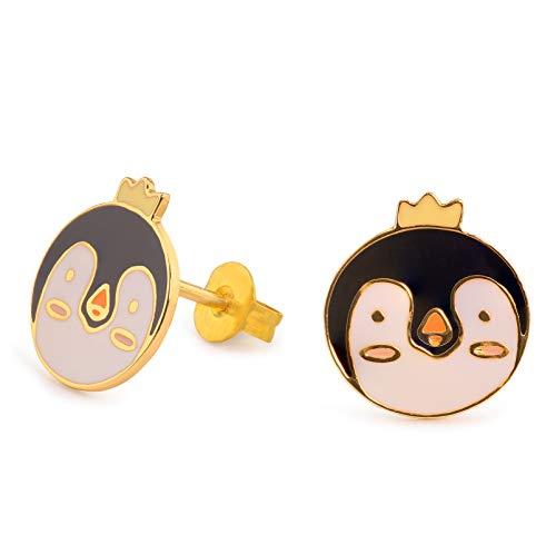 Monkimau - Orecchini da donna a forma di testa di pinguino, in ottone placcato oro, dipinti a mano