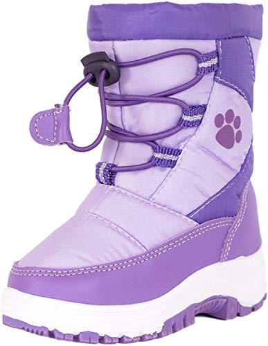 Rugged Bear Girls PAW Print Snow Boot Lilac Purple 13