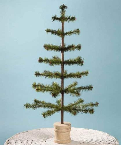 Bethany Lowe 30' Olive Green Feather Christmas Tree with Spool Base