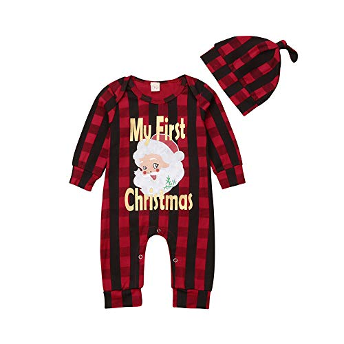 Newborn Baby Boy Girl My First Christmas Outfit Santa Striped Plaid Romper Jumpsuit One-Piece Coverall with Hat Set (Red, 0-3 M)
