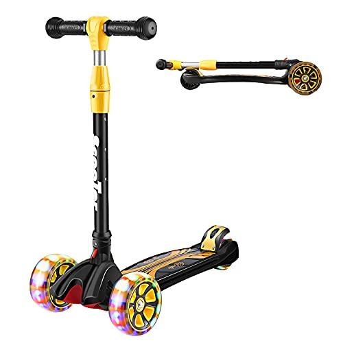 Prämie Dreirad Scooter Kinder Roller mit PU LED Leuchtenden Räder, Letskate Kickscooter mit Doppeltes Großes Hinterrad,Höhenverstellbar und Faltbar Tretroller für Mädchen und Jungen 4-12 Jahre Alt