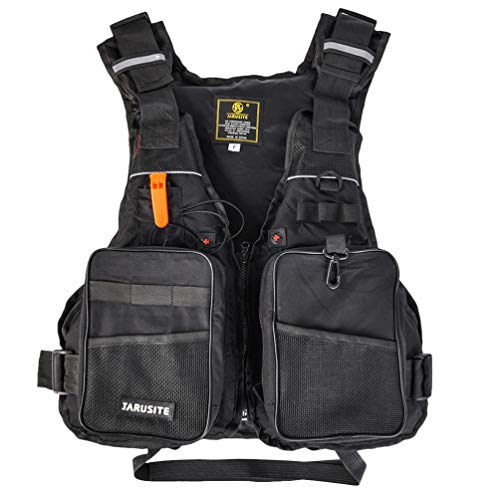 BESPORTBLE Fliegenfischer Weste Pack Schwimmweste Hilfsjacke für Forellenangeln Ausrüstung Und Ausrüstung Einstellbare Größe für Segeln Bootfahren Seefischen (Schwarz)