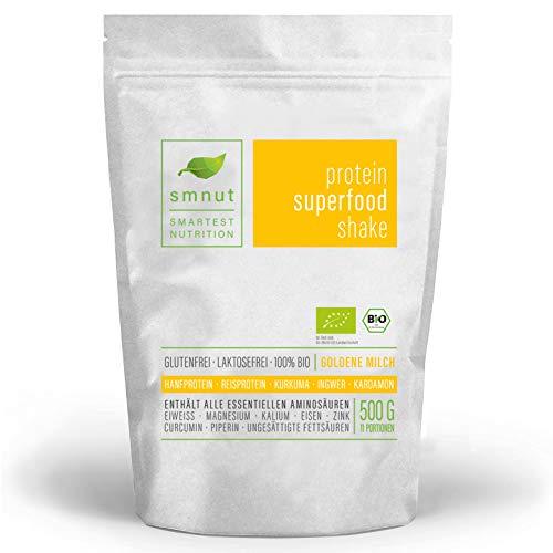 Bio Vegan Protein   smnut GOLDENE MILCH 500g   Hanfprotein Reisprotein Mandelprotein Quinoa   Ayurvedische Gewürze Kurkuma Kardamom Zimt Ingwer Muskat Pfeffer   100%...