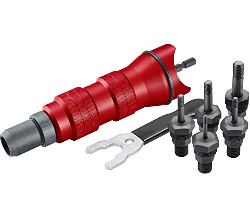 Profesional remachadora de tuercas accesorio para taladro o batería broca para remachadora de tuercas M3 a M8 de aluminio, acero y acero inoxidable Remaches (5 cabezales remachadora) FORTUM 4770654