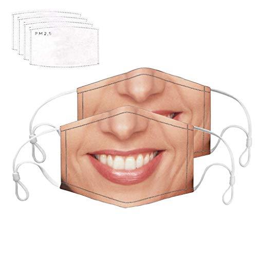 2er Pack staubdichte Gesichtsabdeckung mit 4PC Filterdichtung Funny Print Respirator Face Cover