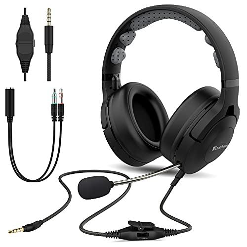 PC Headset mit Mikrofon Einziehbar, Esolom 3,5mm Klinke Headset Handy Wired Headset mit Noise Cancelling Mikrofon Ultra Komfort Kopfhörer für Office Skype Webinar Call Center Zoom Telefonkonferenzen
