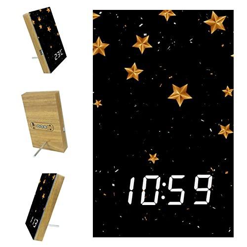 EZIOLY Estrellas Negro Digital Despertador Pantalla Tiempo Temperatura Fecha LED Resina de Madera USB/Batería Alimentado Control de Sonido Suministro Ahorro de Energía para Dormitorio Oficina