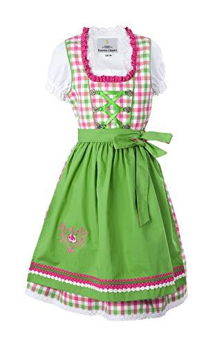 """Ramona Lippert® Kinderdirndl """"Vanessa"""" (Gr. 122-128) pink/grün/kariert Kurzarm, 3 TLG. Dirndl-Set für Mädchen …"""