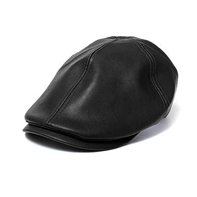 Vintage PU Leather Beret Cap, Leyorie Men Women Peaked Hat Newsboy Sunscreen Flat Hat Fashion