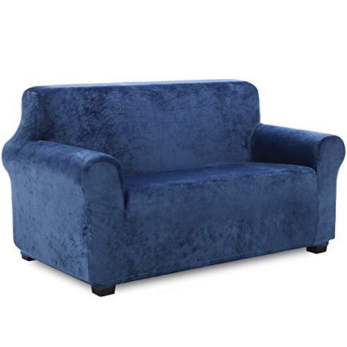 TIANSHU Samt Sofabezug 2 sitzer,Soft Velvet Plush Couchbezug stilvolle Luxus-Möbelbezüge Anti-Rutsch-High Stretch Sesselbezug(2 Sitzer,Dunkelblau)