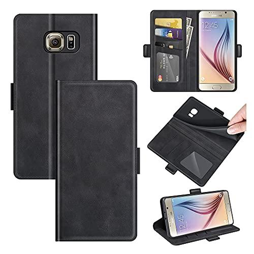 AKC Funda Compatible para Samsung Galaxy S6 Carcasa Caja Case con Flip Folio Funda Cuero Premium Cover Libro Cartera Magnético Caso Tarjetero y Suporte-Negro
