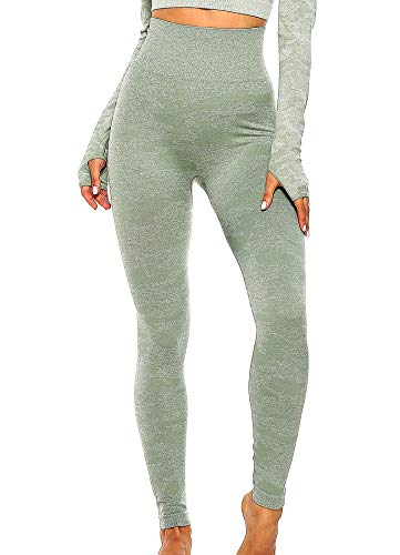 INSTINNCT Damen Yoga Lange Leggings Slim Fit Fitnesshose Sporthosen #1 Tarnmuster - Grün S