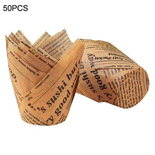 popchilli 50 stks Tulp Cupcake Liner Bakken Papier Bekers Cupcake Muffin Papier Bakken Bekers Hoge Temperatuurbestendige Vetvrije knappe