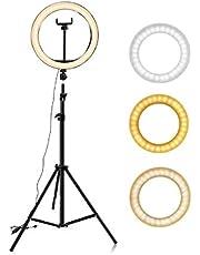 """Hanylish Aro de Luz LED 10"""" Pulgadas (26cm) con Trípode 210 cm, 128 Bombillas LED, Anillo para Selfies y Video, 3 Modos de Iluminación, 10 Niveles de Intensidad, Tripie Expandible, Energía USB"""