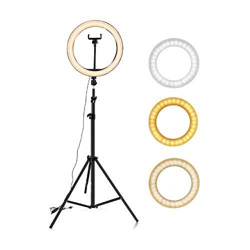 Hanylish Aro de Luz LED 10' Pulgadas (26cm) con Trípode 210 cm, 128 Bombillas LED, Anillo para Selfies y Video, 3 Modos de Iluminación, 10 Niveles de Intensidad, Tripie...