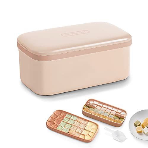 Gefrierform Babynahrung BPA-freie Silikon 64-Eiswürfelform Eiswürfelschalen mit Deckel,Bento-Box Babynahrung Aufbewahrung (Hell-Pink)