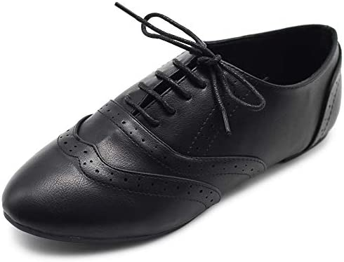 Ollio Womens Shoes Classic Lace Up Dress Low Flats Heel Oxfords M1914 8 B M US Black product image