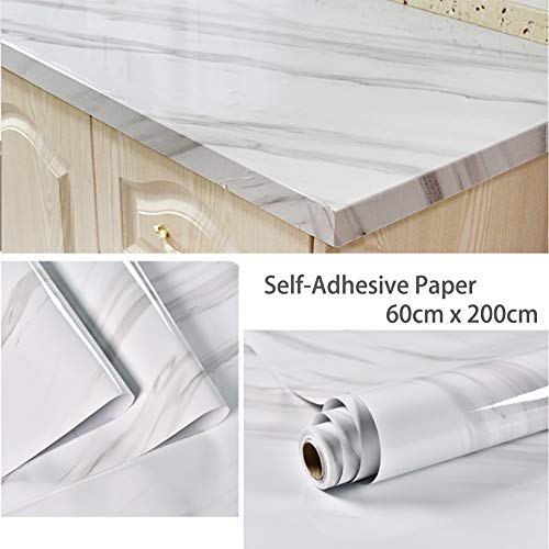 JiuFei Papel Adhesivo Marmol 60CM X 2M Papel Marmol Beige Vinilo Marmol Impermeable de Aceite Impermeable Papel Pared para la Cocina Encimera Oficina de Baño