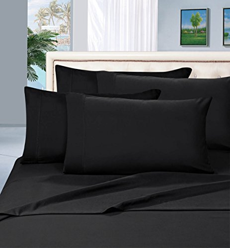 Elegant Comfort 1500 Thread Count Egyptian Quality 6 Piece Wrinkle Free and Fade Resistant Luxurious Bed Sheet Set, King, Black