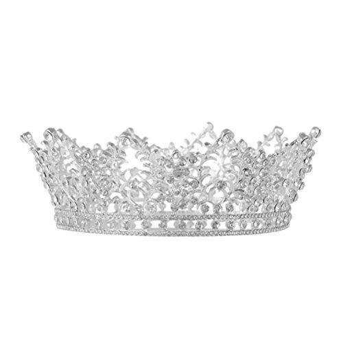 Frcolor Tiara Krone Hochzeit Damen Diadem Kristall Haarschmuck für Braut Party Abschlussbälle (Silber)