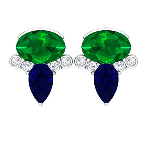 Pendientes de tuerca de piedras preciosas, 1,6 quilates forma ovalada esmeralda, pendientes de zafiro azul, pendientes en forma de pera, 14K Oro blanco, Par