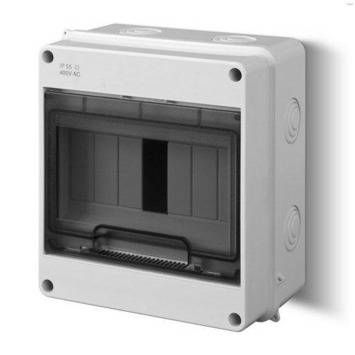 Sicherungskasten Kleinverteiler IP40 Aufputz 7 Module 1-reihig inkl. Hutschiene und PE-/N-Klemmen Control LUX-PLUS