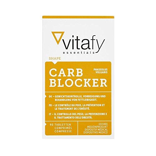 Vitafy Essentials Carb Blocker, 90 Tabletten - Hohe Dosierung - Kohlenhydratblocker - Made in Germany - Gewichtskontrolle - Premiumqualität
