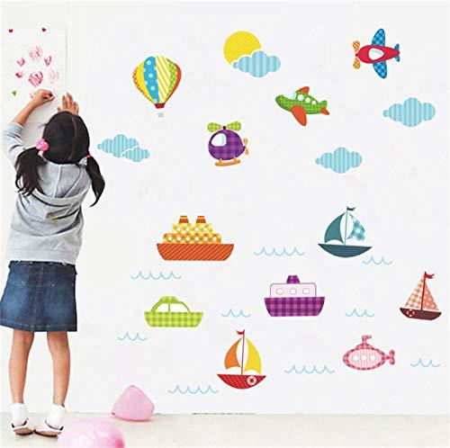 Vliegtuig boot hemel wolken muur Stickers voor kinderen kamers kinderen muurstickers verjaardag Gift Poster muurschildering