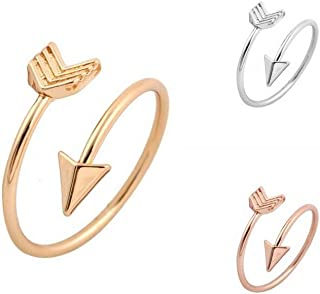 JOYID Fashion Arrow Feather Ring Opening Adjustable Ring Copper Multi-Color Pptionalfor Women Men