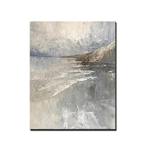 Arte en lienzo Pintura al óleo nórdica Pintada en gris Paisaje Pintura en lienzo Sala de estar Pintura decorativa abstracta Porche Pintura colgante 60x80cm / 23.6 'x31.4' / NoFrame