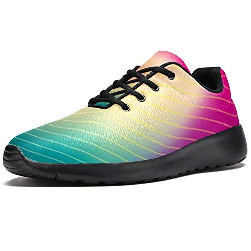 Zapatillas de deporte para hombre, de rayas coloridas, ligeras, transpirables, de malla, para caminar, casual, color, talla 43 1/3 EU