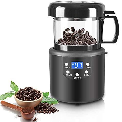 ZLASS Kaffeeröster, 50 g elektrischer Heißluft-Kaffeeröster, mit LED-Anzeige und Sichtfenster, Erdnussnuss-Kaffeebohnen-Röstung und -Kühlung 2-in-1-Kaffeemühle