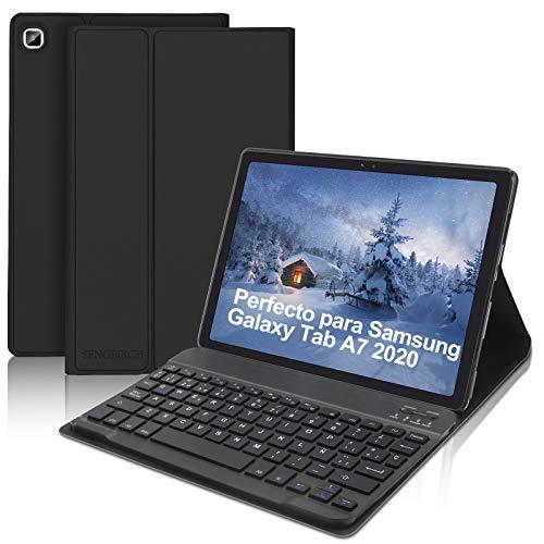 SENGBIRCH Teclado Funda para Samsung Galaxy Tab A7 10.4'2020 (SM-T505/T500/T507), Español Bluetooth Teclado con Ultra Delgado Función de Soporte Protectora Carcasa con Auto Sueño/Estela, Negro