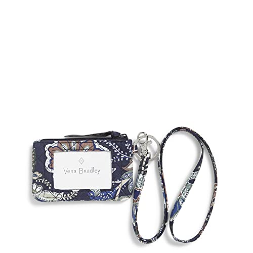 Vera Bradley Women's Zip ID Case and Lanyard Combo, Java Navy Camo-Recycled Cotton, One Size