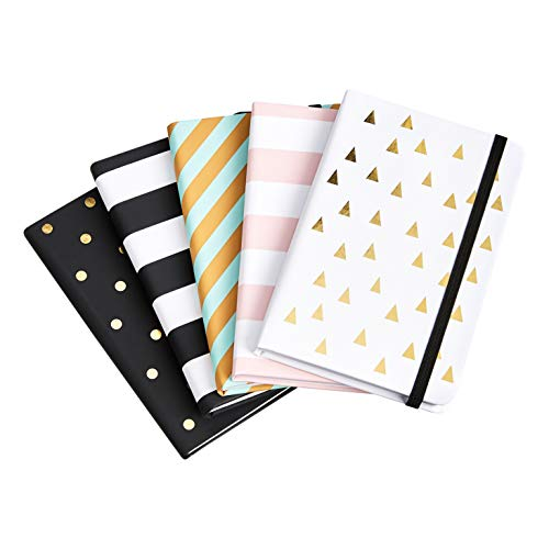 Amazon Basics Bonded Leather Journal, Assorted Colors, 5-Pack