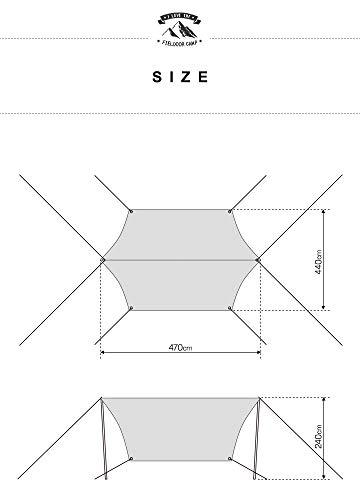 FIELDOORヘキサタープMサイズ440×470cm【ボルドー】収納キャリーバッグ+ロープ+ペグ+アルミ自在金具付4~6人用UVカットシルバーコーティング