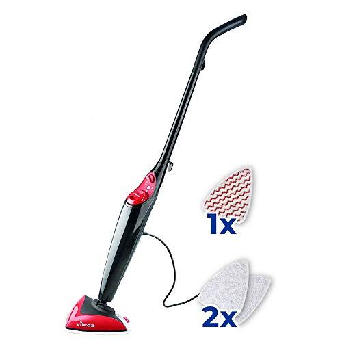 Vileda Steam Power Pad - Mopa a vapor con cabezal triangular, mopa eléctrica ligera con cable de 6 m, apta para suelos duros y moquetas 2 gamuzas de microfibras + 1 gamuza Power Pad, rojo y negro