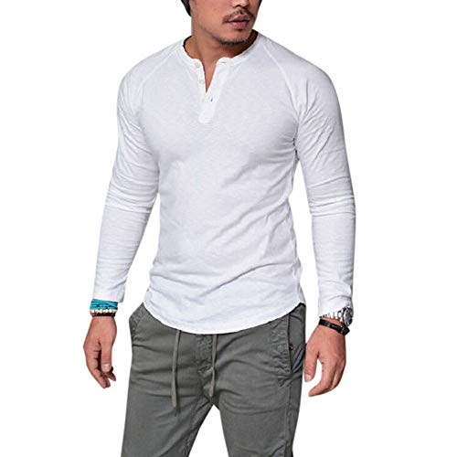 Metermall Fashion For Men Long Sleeve Shirt Casual Solid Color Tops Slim Fit Pullover Blouse