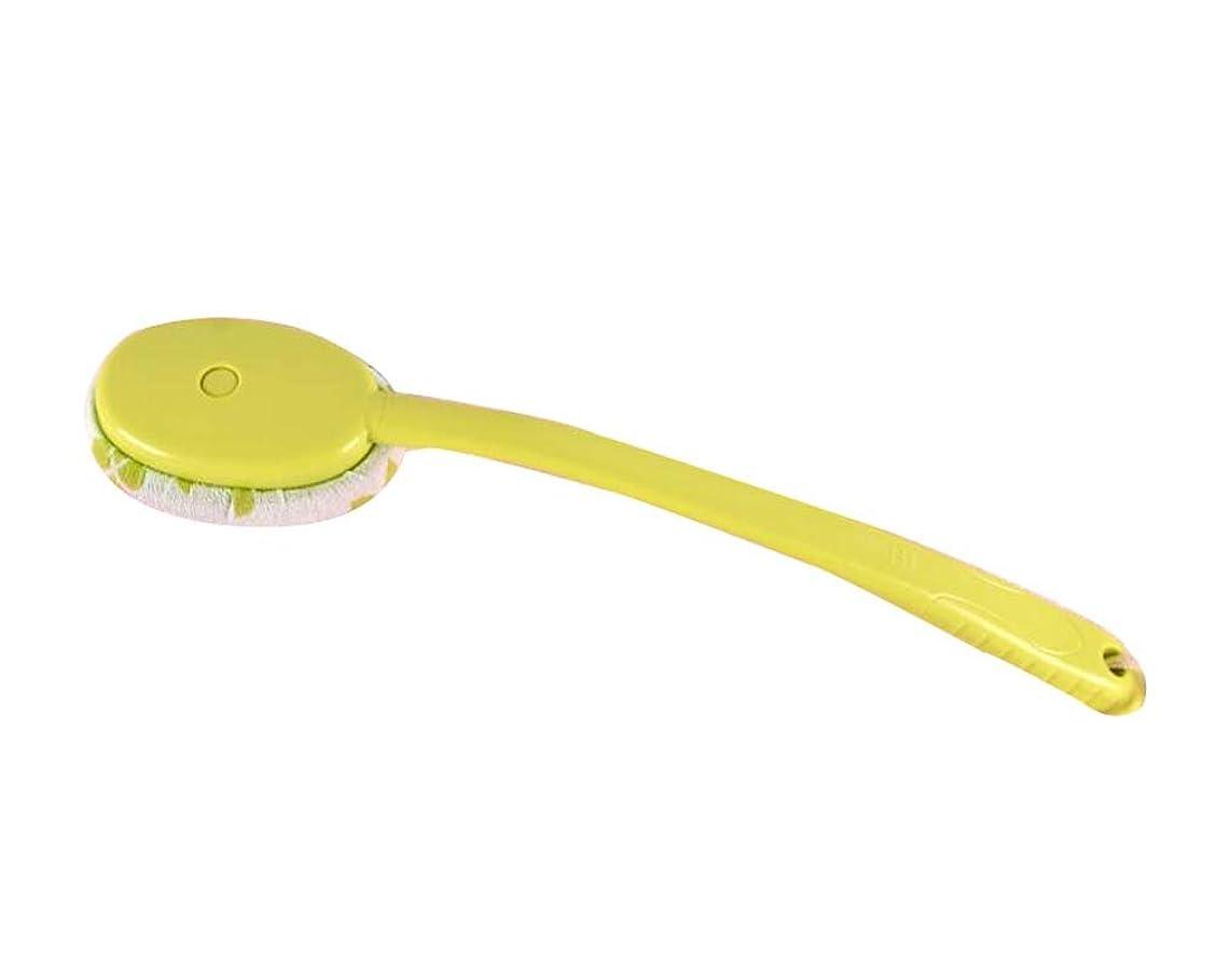 に対してクレーター薄いラビングバスタオルバスブラシクリエイティブロングハンドルラビングブラシ、グリーン