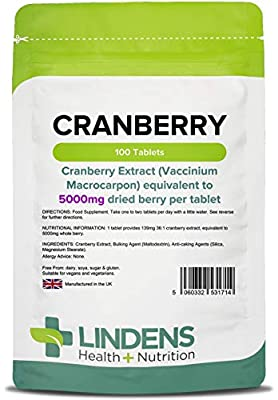 Lindens Cranberry Juice 5000mg Tablets - 100 Pack - Easy Way to Work Cranberry Into Your Day, Rich in Polyphenols & Antioxidants, Popular with Women - UK Manufacturer, Letterbox Friendly