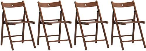 4sillas silla Plegable de madera de haya nogal Marrón IKEA terje lujo Lisa acabado para Sala de espera Fabricado en casa Invitados cocina Salón Camping Bar restaurante catering Plegable