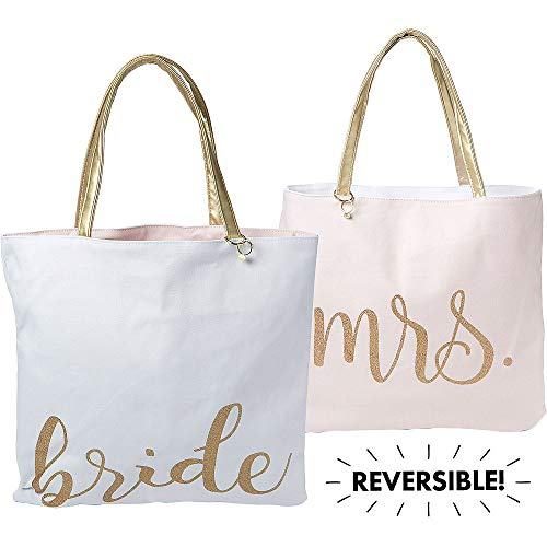 ELEGANI Reversible Bride & Mrs Tote Bag Wedding ceremony Supplies