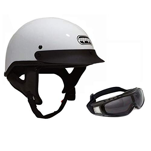 Includes Smoked Riding Goggles Medium Carbon Fiber MMG 205 Motorcycle Half Helmet Cruiser DOT Street Legal