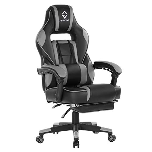 PEROINE Massage Gaming Chair - High Back PU Leather PC Racing Computer Desk Office Swivel Chair with Retractable Footrest and Adjustable Lumbar Support (Gray/Black)