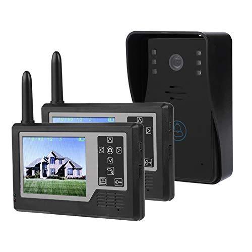 Timbre inalámbrico duradero, timbre con intercomunicador, intercomunicador con video con mirilla de 3,5 pulgadas para(Outdoor doorbell + 2 indoor displays)