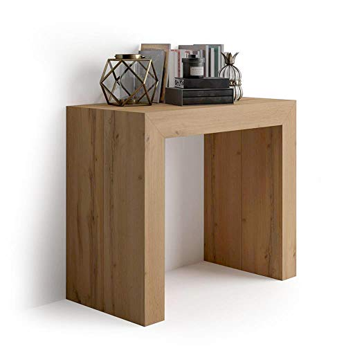Mobili Fiver, Table Console Extensible Angelica, Bois Rustique, 45 x 90 x 76 cm, Mélaminé/Aluminium, Made in Italy