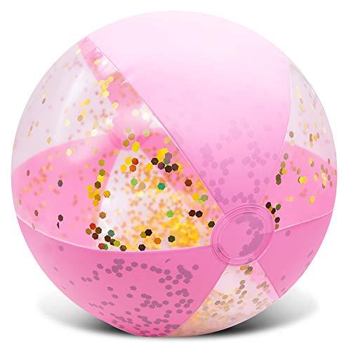 "Amor Inflatable Glitter Beach Ball 16"" Accessory Confetti Pink"