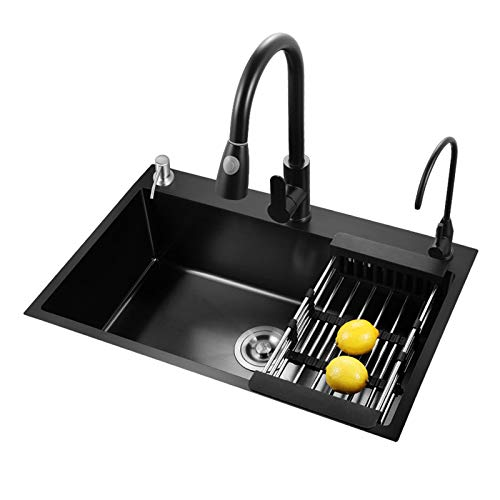 MLMQ Fregadero de Cocina Negro, Fregadero Empotrado Acero Inoxidable con Sifón Automático Dispensador de Jabón Escurridor, Lavabo Cocina Encimera o Enrasado,With tap,60X45cm