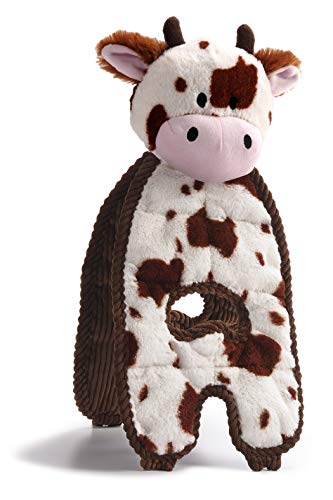 Charming Pet Cuddle Tugs Cow Plush Dog Toy - Tough and Durable Interactive Soft Animal Squeaky Tug...